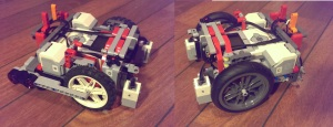 Roboten vår med nye og gamle hjul