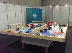 Robotbord ferdig rigget på Kids Expo